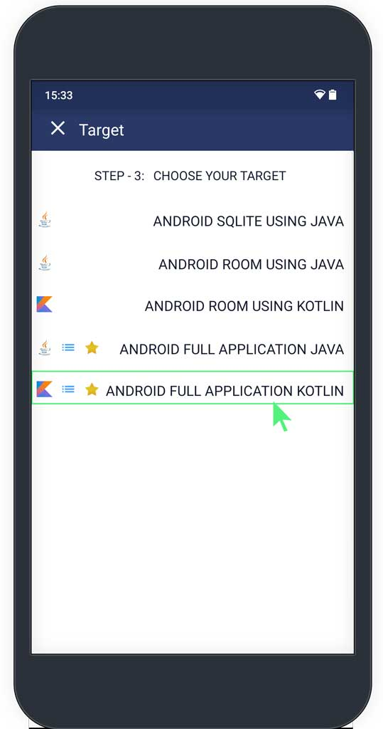 Target options android kotlin