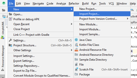 kotlin android import project step 1